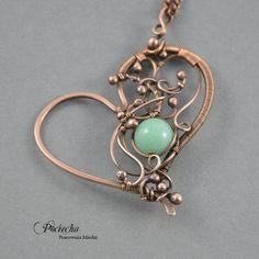 MInt heart - naszyjnik z sercem (proj. Pracownia miedzi - Pociecha), do kupienia w DecoBazaar.com