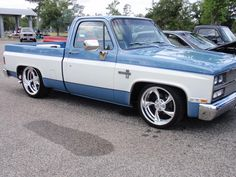 1985 Chevrolet Silverado, C10 SWB. Custom modded with a drop & 1990 Suburban front clip & billet grille.