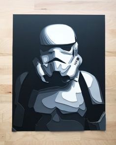 "I started making layered paper art. Stormtrooper No. 1, 16""x20"" : pics"