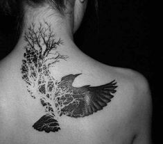Black Raven With Tree Without Leaves Tattoo On Upper Back