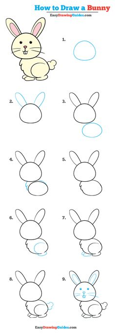 Learn How to Draw an Easy Bunny: Easy Step-by-Step Drawing Tutorial for Kids and Beginners. #bunny #rabbit #drawing #tutorial. See the full tutorial at https://easydrawingguides.com/how-to-draw-a-bunny-really-easy-drawing-tutorial/