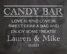 #NEW! #Chalkboard #Wedding Candy Bar Sign by WeddingsByJamie on Etsy