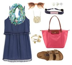 """in Palm Beach, Florida"" by rosiemccumiskey ❤ liked on Polyvore featuring MANGO, Birkenstock, Vera Bradley, Longchamp, Vineyard Vines, Ray-Ban and BERRICLE"