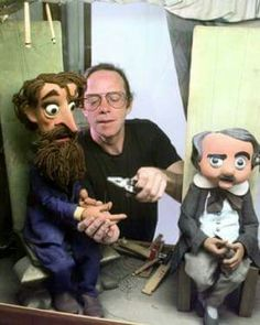"""Peter Baird with two of the marionettes from the TV film ,""""The Strange Case of the Cosmic Rays"""" Dostoevsky and Poe. Frank Capra produced and directed the film. From Biil Baird Marionettes."""