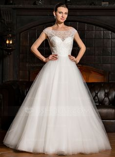 [US$ 329.99] Ball-Gown Off-the-Shoulder Floor-Length Tulle Lace Wedding Dress With Beading