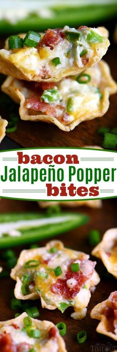 Bacon Jalapeño Popper Bites Mom on Time Out these are the ULTIMATE appetizer! Cheesy, creamy, spicy, bite-sized and did I mention loaded with bacon? Sure to be the hit of your next party! Finger Food Appetizers, Yummy Appetizers, Appetizers For Party, Finger Foods, Appetizer Recipes, Jalapeno Bacon, Stuffed Jalapenos With Bacon, Jalapeno Recipes, Jalapeno Popper Wontons
