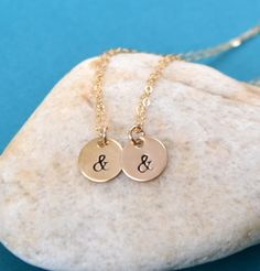 Set of Two  Gold Ampersand Necklace by SeaSaltShop on Etsy, $47.00