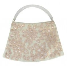 Monsoon accessorize cream fabric handbag cutout applique flowers solid handle