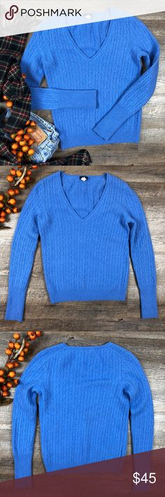 J Crew Sweater Adorable blue J Crew sweater! In great condition. 55% wool, 30% nylon, 15% cashmere. Size M. (I-29. B) J Crew Sweaters V-Necks