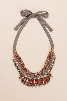Woven beaded bib necklace by Nocturne