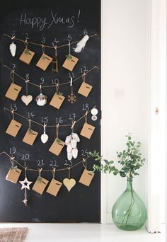 November is halfway over and it's time to get working on an advent calendar! Do you usually have an advent calendar up ever year? Christmas Love, Christmas Countdown, Scandinavian Christmas, Christmas And New Year, Christmas Trimmings, Magical Christmas, New Years Decorations, Christmas Decorations, Holiday Decor