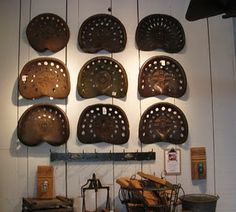 tractor seats - a collection of anything, even tractor seats, is always fab.