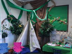 Camping area for role play with a tourist information for emergent writing.