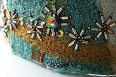 felted cuff with seed beads and crystals bead by archaicdesign, $65.00