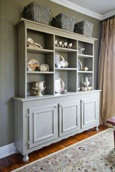 Make A Hutch By Finding An Awesome Buffet Then Adding Handmade Shelves With Molding And Beadboard For Backing