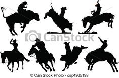 Vector - Seven rodeo silhouettes. Black and - stock illustration, royalty free illustrations, stock clip art icon, stock clipart icons, logo, line art, EPS picture, pictures, graphic, graphics, drawing, drawings, vector image, artwork, EPS vector art