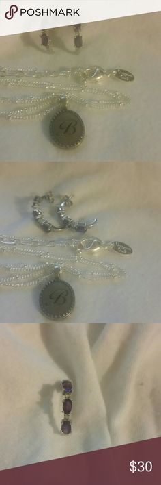 Jewelry set Origami owl necklace 18 inches long earrings 925 silver with amethyst stones and I think diamonds I am not sure.  I've had these for over 7 years still cleaning out all my jewelry boxes Jewelry Necklaces
