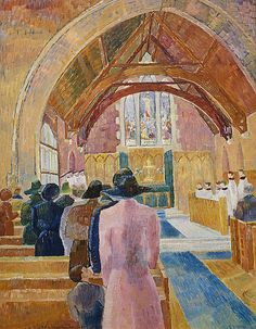 Grace Cossington Smith ,Australia Church Interior shows a scene in a church where men are mostly absent, having gone off to the war. New Zealand Art, Australian Artists, Gallery Of Modern Art, Interior Art, Australian Art, Painting, Art, Life Art, Sacred Art