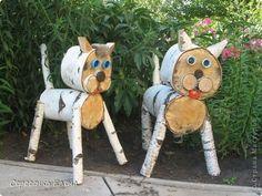 Slice made kitty cats Cat Crafts, Tree Crafts, Wood Log Crafts, Wood Yard Art, Jardin Decor, Driftwood Wall Art, Wood Animal, Wood Dog, Art Drawings For Kids