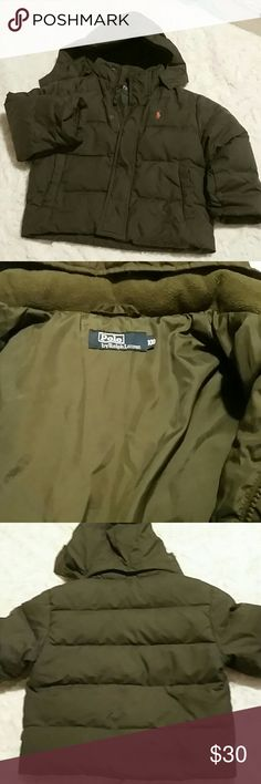 Polo dark khaki green down-filled puffer jacket Up for grabs I have a dark khaki green puffer jacket with Orange Polo embroidered horse kids size 3/4 T this is in excellent condition has fleece lining around the neck and inside the pockets this was purchased in China but it is authentic size in China is 100 jacket is a lightweight packable bookworm jacket has elastic on the interior sleeve to hold sleeve in place Polo by Ralph Lauren Jackets & Coats Puffers