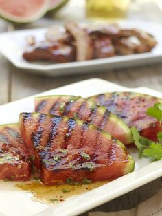 Grilled Spicy Watermelon.  Transform watermelon from sweet to savoury with this mouth watering Thai-inspired sauce. Watermelon wedges are grilled until caramelized, drizzled with garlic chili sauce and garnished with cilantro. #HealthyEating #CleanEating  #ShermanFinancialGroup
