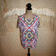 Vintage Handkerchief Print Blouse Oversized Top by MagpieandOtis