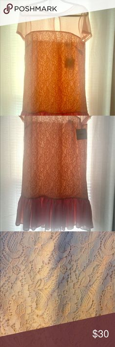 Asos, size 8, blush lace and ruffle dress New with tags! Never worn. Blush pink lace and mesh dress. Short sleeve sheer nylon mesh top with a lined lace body and a mesh ruffle. Size 8 from Asos. Absolutely adorable! Fun and flirty! Hits mid-thigh. Nylon/elastane/poly blend. Asos Dresses