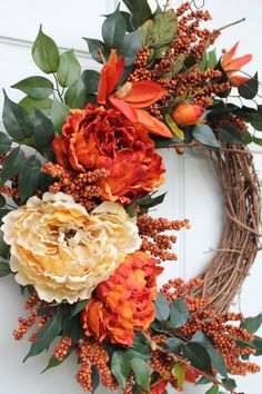 Fall Grapevine Burnt Orange and Golden Peonies with Orange Magnolia Large burnt orange and golden cream peonies accented with orange magnolias and dark orange berries on an 18 inch grapevine wreath. Inviting fall wreath for your foyer and front door. Diy Projects For Fall, Fall Crafts, Diy Fall Wreath, Autumn Wreaths, Spring Wreaths, Summer Wreath, Fall Door Wreaths, Wreath Ideas, Thanksgiving Wreaths