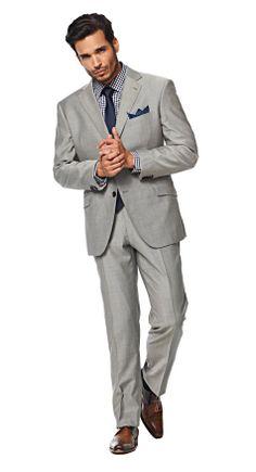 Groom Attire: Solid Light Gray Suit