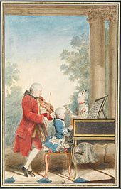 Wolfgang Amadeus Mozart —  Leopold, Wolfgang au clavecin et Maria Anna (dite Nannerl) Mozart en 1764. Wikipédia