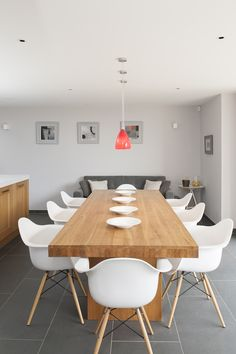 Eames style chairs surround the  John Lewis dining table. #WTinteriors