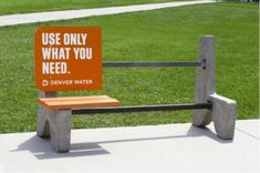 This nontraditional ad brings attention to the amount of water we. By using a public bench they ensure that various people are able to see their message in an eye catching way. #M2350 #support