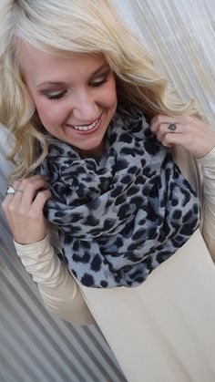 Gray Leopard Infinity Scarf