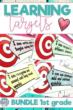 These 1st grade printable Common Core State Standard aligned learning targets are an efficient visual to help your students meet their daily learning objectives in all subject areas. They are written in kid friendly language using 'I can' statements. These templates can be displayed as a sign on a bulletin board or anywhere else in your classroom. They are also easy to shrink and print for individual student use. Click the link to see the learning targets, and also the success criteria!