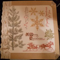 Handmade Christmas Card gift idea by Denise Watson found on MyOwnCreation: Quality Kraft card with lace and mixed vintage embossed images on cream background. Matching envelope. Special offer - buy 3 of the specified cards for 5.00.