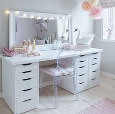IKEA double Alex 9 drawer customized desk/vanity