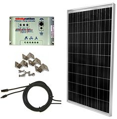 Windynation Complete Solar 100 Watt Panel Kit: 100W Ul 1703 Solar Panel + Charge Controller + Mc4 Connectors + Mounting Z Brackets For 12V Battery Off Grid, Rv, Boat, 2015 Amazon Top Rated Solar Panels #Lawn&Patio