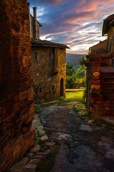 The Nighttime Streets Of Italy - Val d'Orcia Region, Tuscany, Italy.