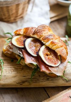 Rustic fig and ham croissant.