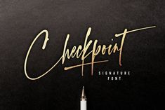Ad: Checkpoint Signature Font by Sam Parrett on Make your point with Checkpoint Signature; a slick, high energy signature-style script font guaranteed to make a big impression. Best Calligraphy Fonts, Script Lettering, Handwritten Fonts, Typography, Modern Calligraphy, Signature Fonts, Signature Style, Signature Ideas, Logo Branding