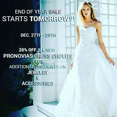 Sale Dec 27-29 @ Monica's Bridal 1637 Sheepshead Bay Rd., Bklyn NY 11235! 20%off New Pronovias dress orders + discounts on Jewelry & Accessories! To schedule an appointment call 718.646.5400  #bridal #wedding #bride #weddingdress #makeup #weddings #fashion #brides #hair #love #bridetobe #dress #bridesmaid #couture #weddinggown #beauty #weddingday #gown #weddinginspiration #designer #marriage #weddingideas #bridalgown #handmade #weddingplanner #instabride #lace #style #jewelry #pronovias