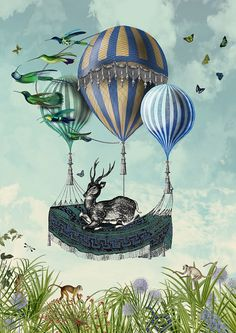 Deer Print - Flight of the Stag - Limited Edition Giclee Print - hot air balloon print deer painting deer art deer poster air balloon poster Ballon Illustration, Hirsch Illustration, Deer Illustration, Air Ballon, Hot Air Balloon, Balloon Painting, Deer Art, Printed Balloons, Photo D Art