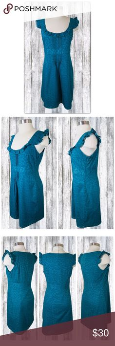 Ann Taylor LOFT Teal Sun Dress Sz 6 NWT Brand:Ann Taylor LOFT Style: Sleeveless knee length sun dress Size: Women's 6  Just in time for those hot summer days!  This dress is a classic and perfect for work and play.  Scoop neckline Banded waist Tapered at the waist for a fitted look Hidden size zipper Knee length There is 1 small flaw:  The seam has come undone slightly at the waist (last photo).  This is an easy fix with just a couple of stitches. LOFT Dresses Midi