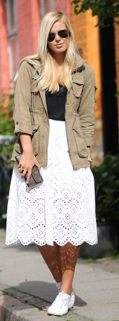 Army Jacket And Lace Skirt Streetstyle by Natulia