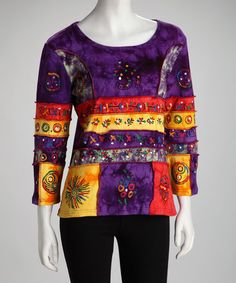 Take a look at this Purple Embellished Patchwork Top by Rising International on #zulily today! $22