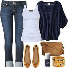 Cute for games. Navy sweater white tank. Flats....I've got a white sweater so I could do a navy tank instead possibly. Gonna have to check this look out
