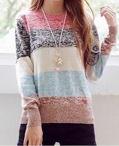 Sweet Round Neck Long Sleeve Striped Women's Sweater