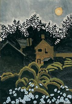 """Twilight Moon by Charles Burchfield, August 4, 1916, watercolor on paper, 20 x 14"""", Columbus Museum of Art, Ohio: Museum Purchase, Howald Fund, 2002.021   DREAMS AND DRAMAS: MOONLIGHT AND TWILIGHT IN AMERICAN ART - Exhibition - Hollis Taggart Galleries"""