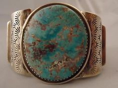 Vtg Navajo Signed Wilson Padilla Turquoise Nugget Sterling Silver 925 Bracelet