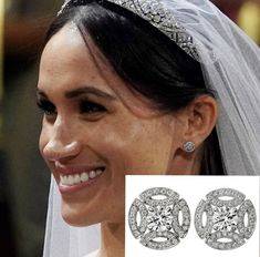 Beautiful Meghan Markle on her wedding day. Diamond Earrings Tiffany, Solitaire Earrings, Diamond Jewelry, Cartier Earrings, Tragus Earrings, Diamond Earring Jackets, Gold Bangles, Bridal Earrings, Jewelery